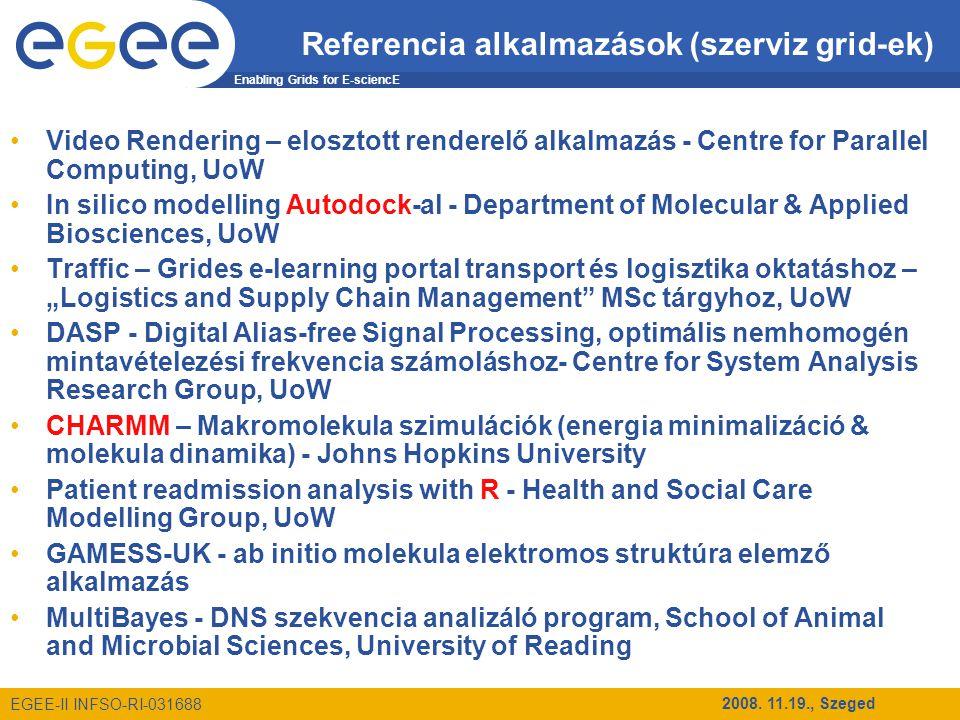 Enabling Grids for E-sciencE EGEE-II INFSO-RI-031688 2008. 11.19., Szeged Referencia alkalmazások (szerviz grid-ek) Video Rendering – elosztott render