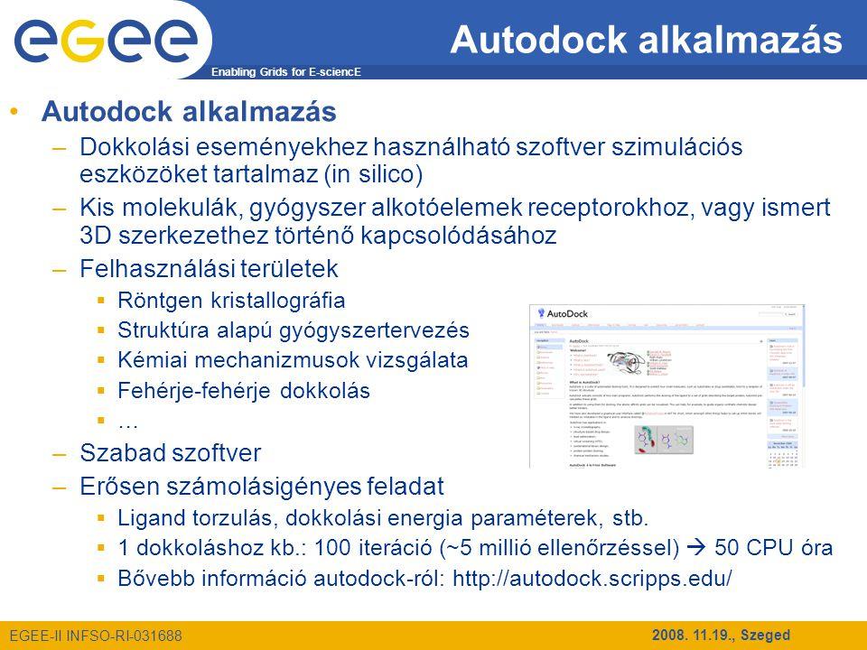 Enabling Grids for E-sciencE EGEE-II INFSO-RI-031688 2008. 11.19., Szeged Autodock alkalmazás –Dokkolási eseményekhez használható szoftver szimulációs
