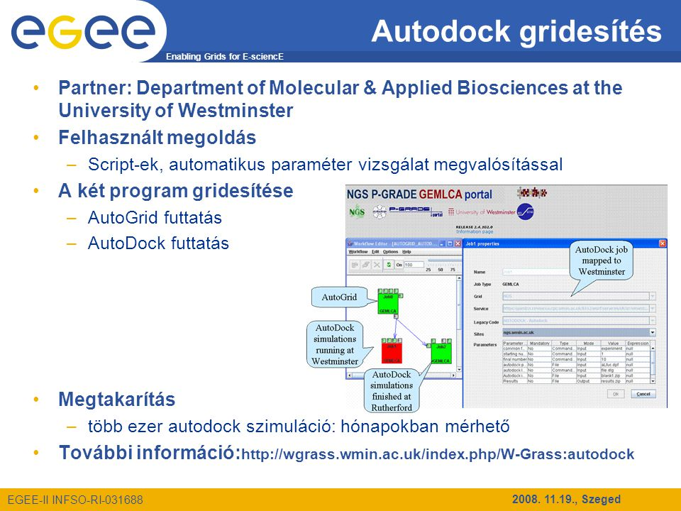 Enabling Grids for E-sciencE EGEE-II INFSO-RI-031688 2008. 11.19., Szeged Autodock gridesítés Partner: Department of Molecular & Applied Biosciences a