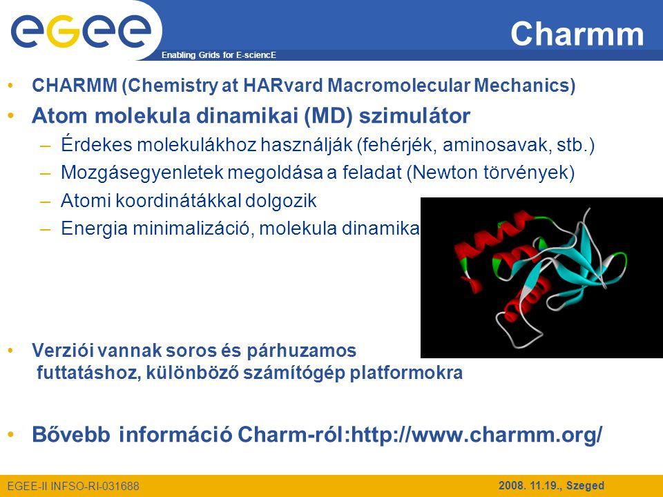 Enabling Grids for E-sciencE EGEE-II INFSO-RI-031688 2008. 11.19., Szeged Charmm CHARMM (Chemistry at HARvard Macromolecular Mechanics) Atom molekula