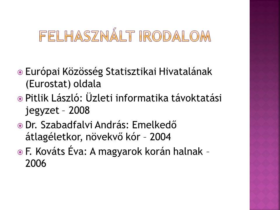 Európai Közösség Statisztikai Hivatalának (Eurostat) oldala  Pitlik László: Üzleti informatika távoktatási jegyzet – 2008  Dr.
