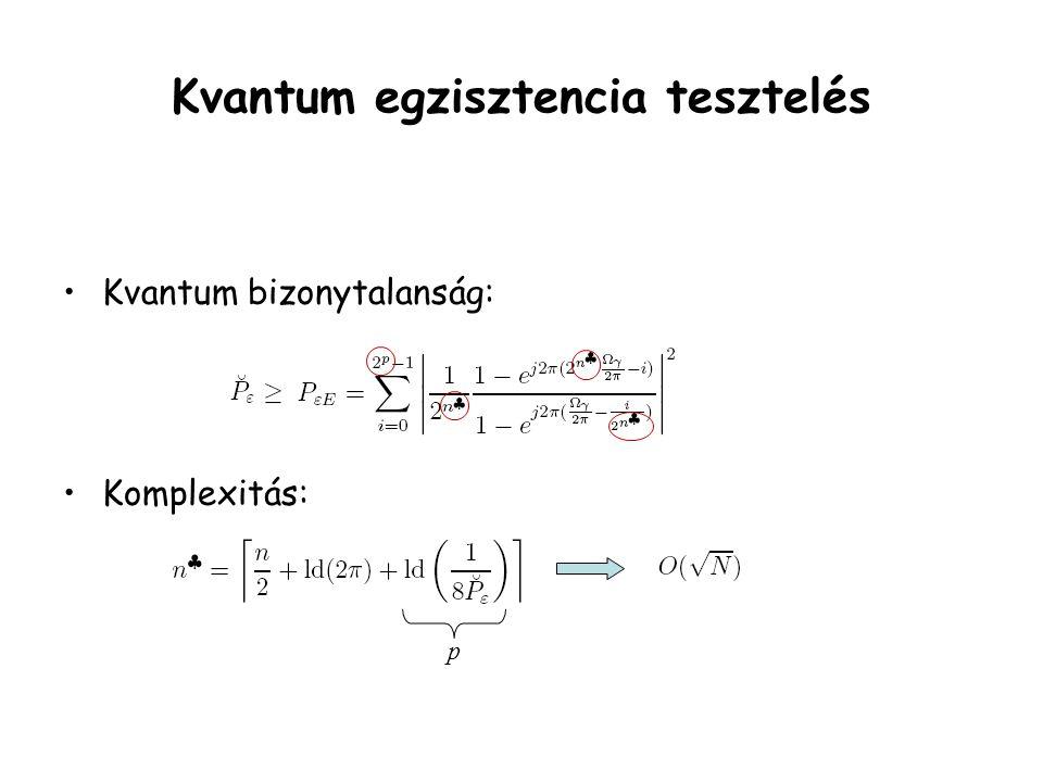 Kvantum egzisztencia tesztelés Kvantum bizonytalanság: Komplexitás: p