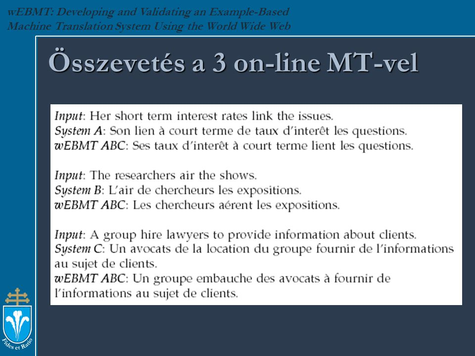 wEBMT: Developing and Validating an Example-Based Machine Translation System Using the World Wide Web Összevetés a 3 on-line MT-vel