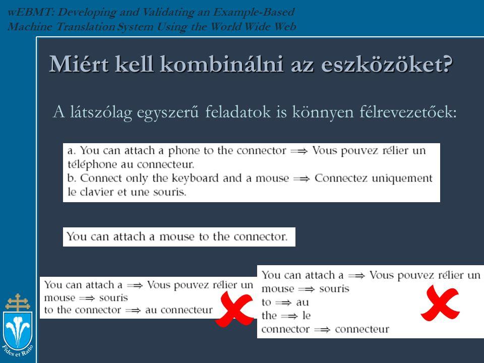wEBMT: Developing and Validating an Example-Based Machine Translation System Using the World Wide Web Miért kell kombinálni az eszközöket.