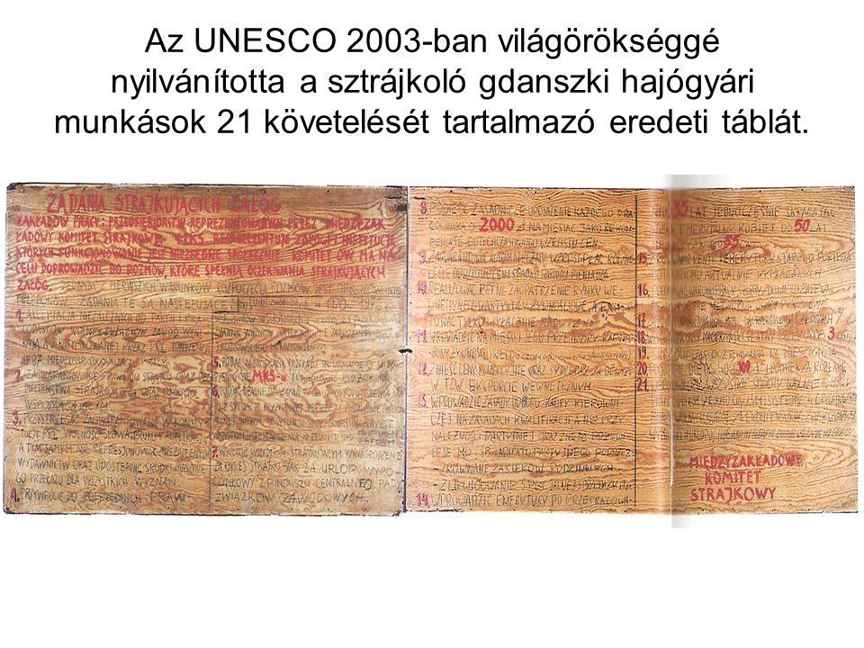 Az UNESCO 2003-ban világörökséggé nyilvánította a sztrájkoló gdanszki hajógyári munkások 21 követelését tartalmazó eredeti táblát.