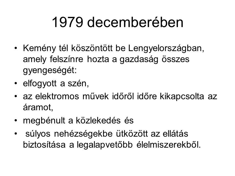 1979 decemberében Kemény tél köszöntött be Lengyelországban, amely felszínre hozta a gazdaság összes gyengeségét: elfogyott a szén, az elektromos műve