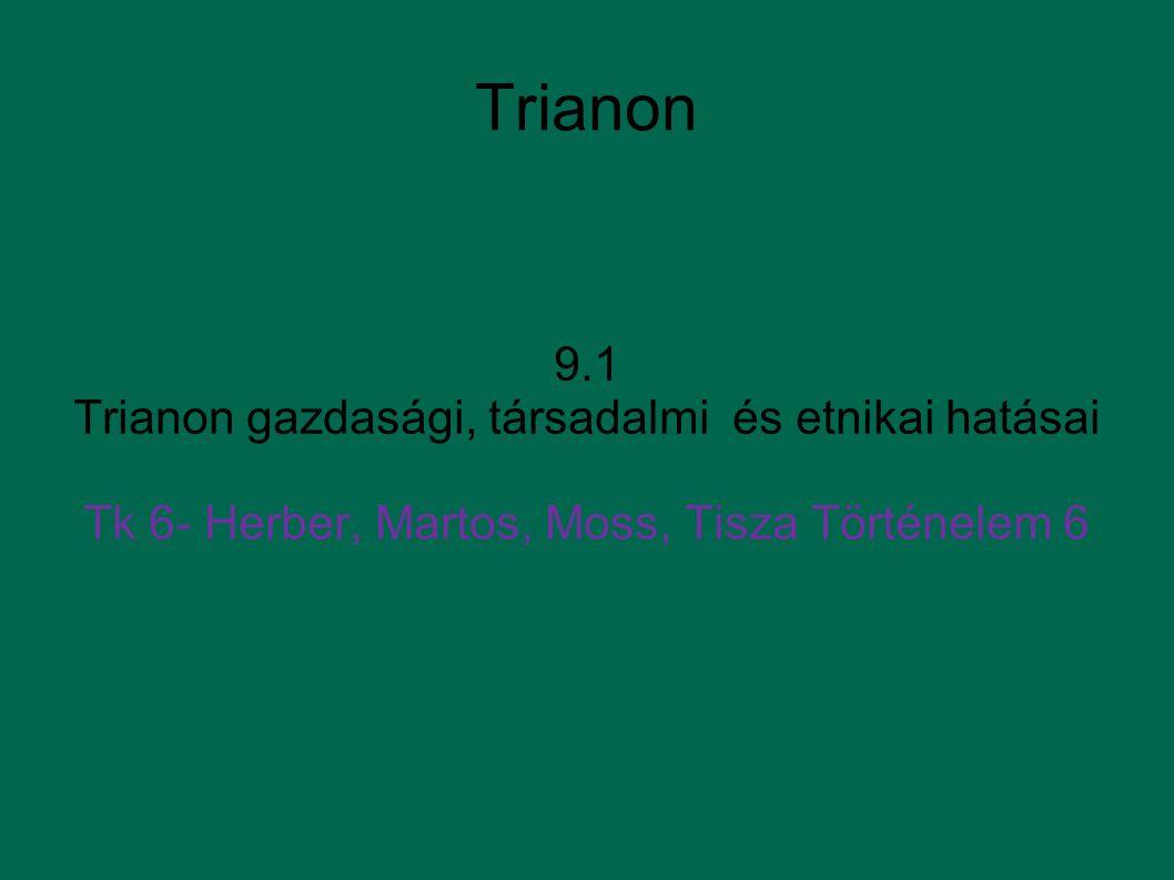 Trianon 9.1 Trianon gazdasági, társadalmi és etnikai hatásai Tk 6- Herber, Martos, Moss, Tisza Történelem 6