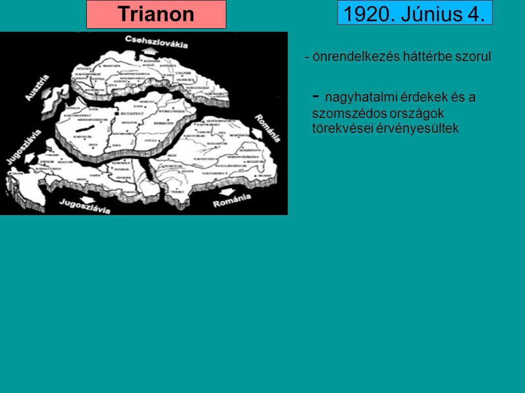 Trianon - önrendelkezés háttérbe szorul - nagyhatalmi érdekek és a szomszédos országok törekvései érvényesültek 1920. Június 4.