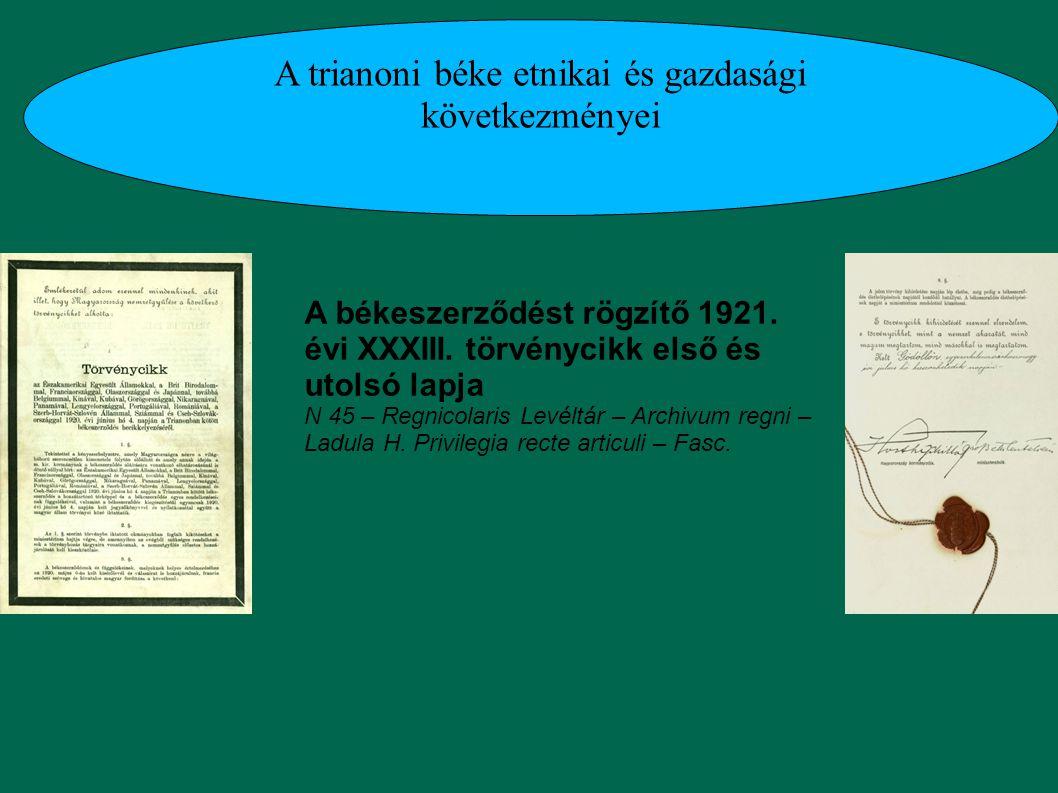 A trianoni béke etnikai és gazdasági következményei A békeszerződést rögzítő 1921. évi XXXIII. törvénycikk első és utolsó lapja N 45 – Regnicolaris Le