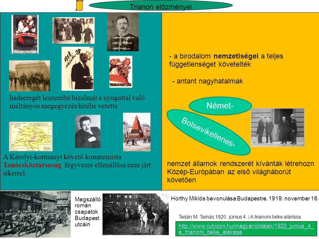 Az antant ígéretei és az antant szövetségeseinek követelése Románia, Csehszlovákia és a Szerb-Horvát-Szlovén állam képviselői az 1919.