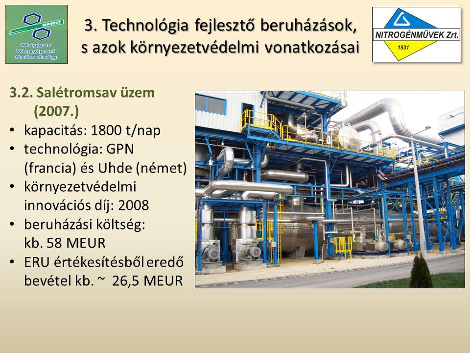 3. Technológia fejlesztő beruházások, s azok környezetvédelmi vonatkozásai 3.2.