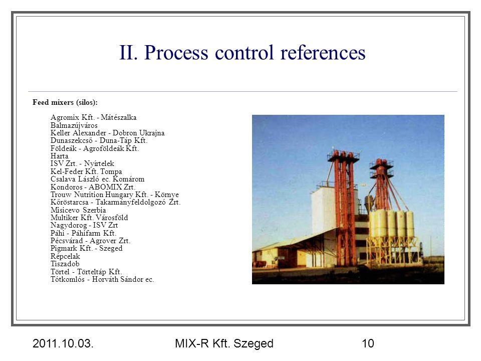 2011.10.03.MIX-R Kft. Szeged10 II. Process control references Feed mixers (silos): Agromix Kft. - Mátészalka Balmazújváros Keller Alexander - Dobron U