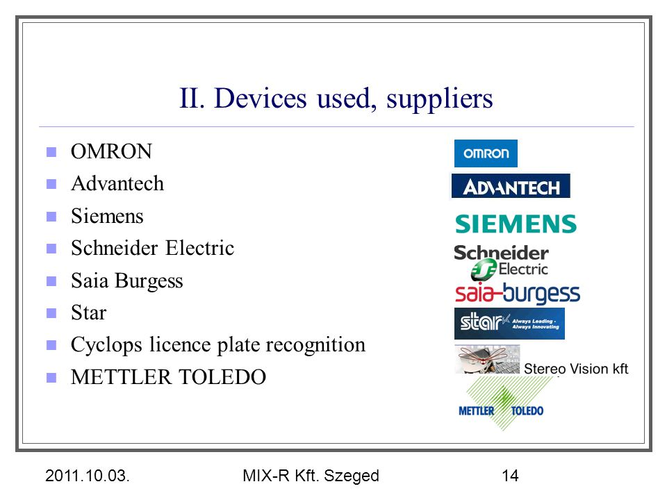 2011.10.03.MIX-R Kft. Szeged14 II. Devices used, suppliers OMRON Advantech Siemens Schneider Electric Saia Burgess Star Cyclops licence plate recognit
