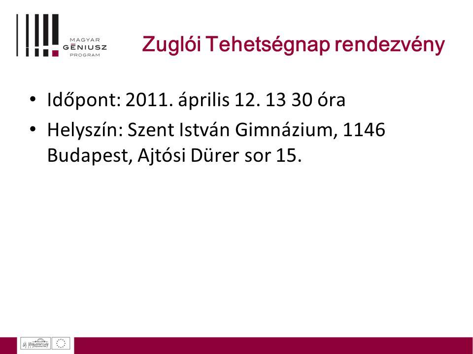 Zuglói Tehetségnap rendezvény Időpont: 2011. április 12. 13 30 óra Helyszín: Szent István Gimnázium, 1146 Budapest, Ajtósi Dürer sor 15.
