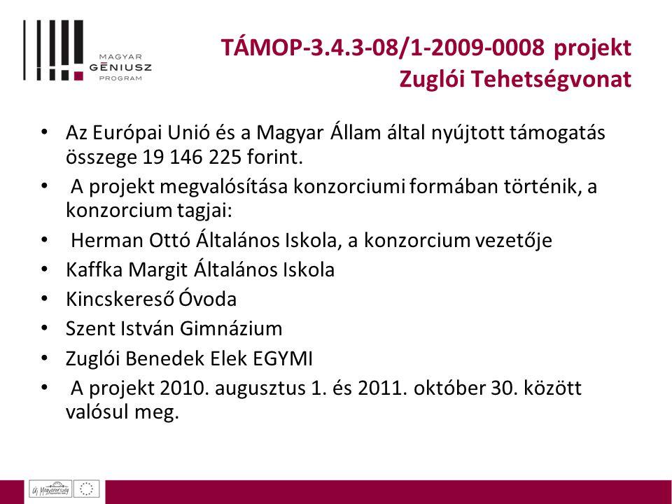 TÁMOP-3.4.3-08/1-2009-0008 projekt Zuglói Tehetségvonat Az Európai Unió és a Magyar Állam által nyújtott támogatás összege 19 146 225 forint. A projek
