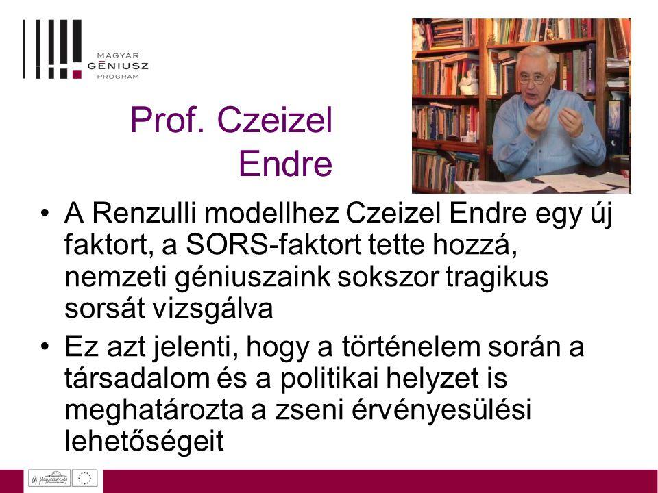 Prof. Czeizel Endre A Renzulli modellhez Czeizel Endre egy új faktort, a SORS-faktort tette hozzá, nemzeti géniuszaink sokszor tragikus sorsát vizsgál