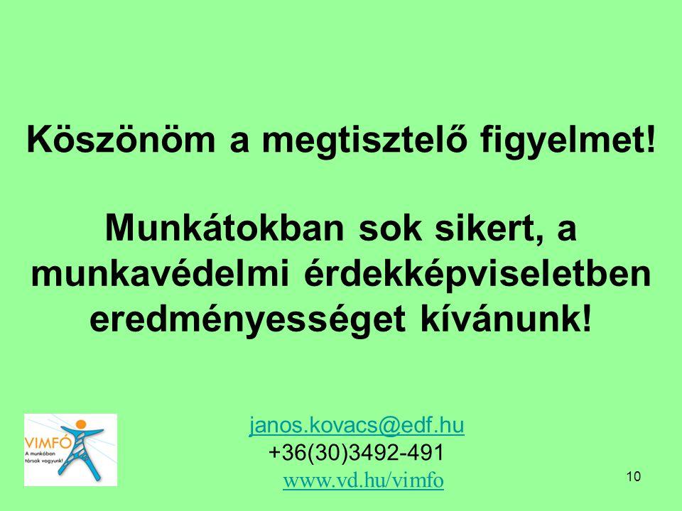10 Köszönöm a megtisztelő figyelmet! janos.kovacs@edf.hu janos.kovacs@edf.hu +36(30)3492-491 www.vd.hu/vimfo www.vd.hu/vimfo Munkátokban sok sikert, a