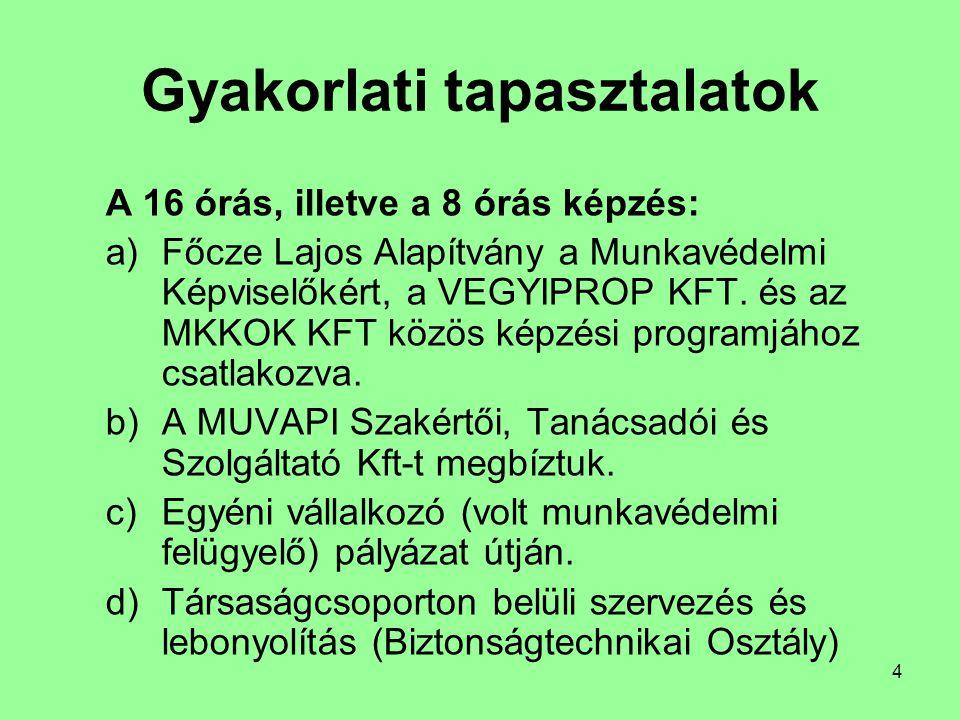 4 Gyakorlati tapasztalatok A 16 órás, illetve a 8 órás képzés: a)Főcze Lajos Alapítvány a Munkavédelmi Képviselőkért, a VEGYIPROP KFT. és az MKKOK KFT