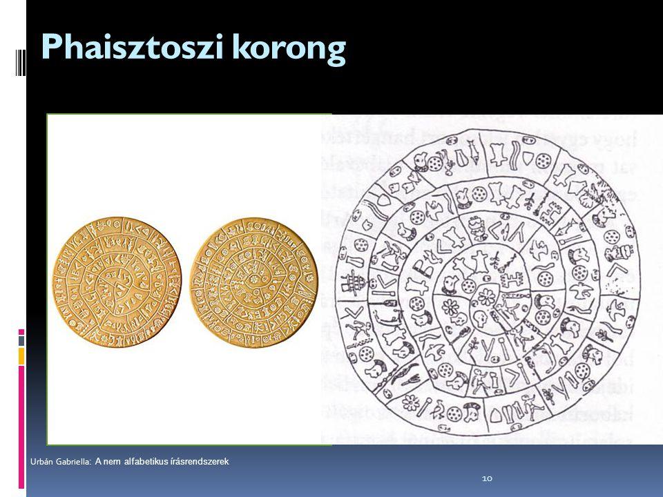 10 Phaisztoszi korong Mintegy 3800 évvel ezelőtt a krétai phaisztoszban elkészítették a 45 krétai írásjel pecsétnyomóját. A korábban tulajdon-azonosít