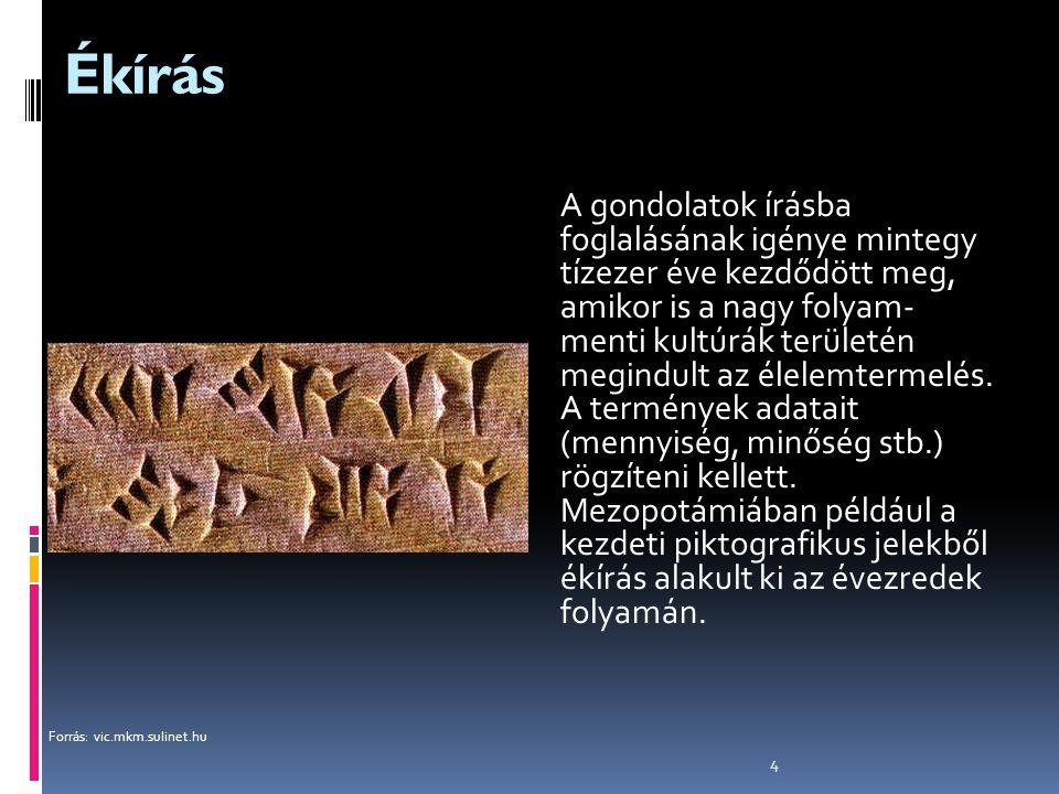 4 Ékírás A gondolatok írásba foglalásának igénye mintegy tízezer éve kezdődött meg, amikor is a nagy folyam- menti kultúrák területén megindult az éle