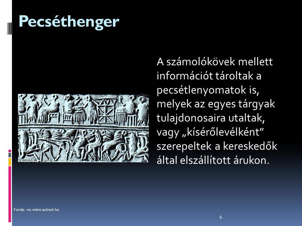 """6 Pecséthenger A számolókövek mellett információt tároltak a pecsétlenyomatok is, melyek az egyes tárgyak tulajdonosaira utaltak, vagy """"kísérőlevélkén"""