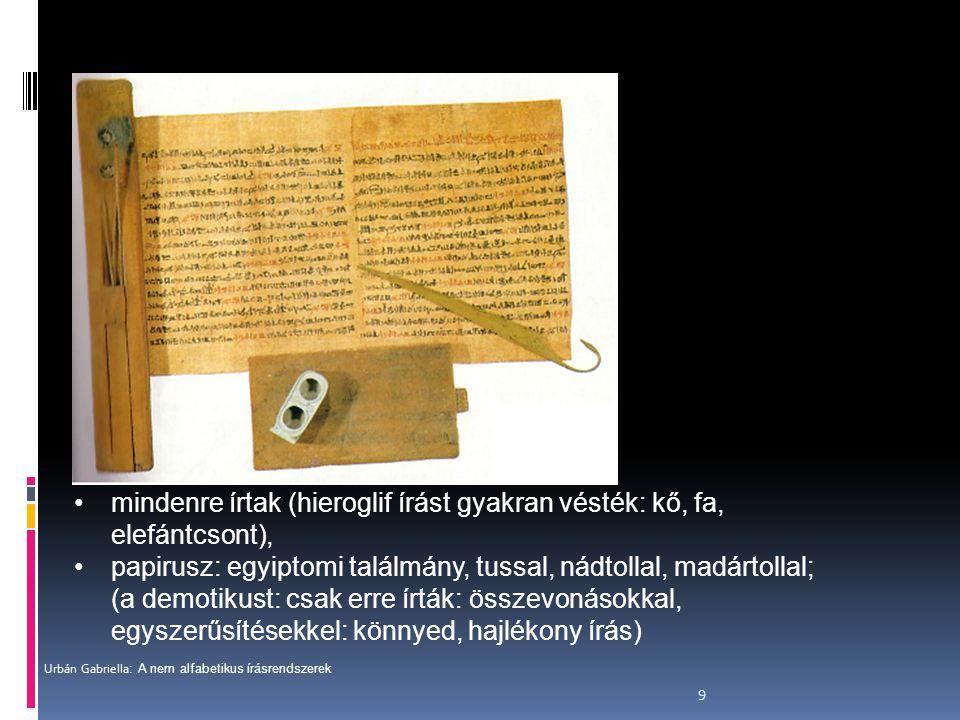9 mindenre írtak (hieroglif írást gyakran vésték: kő, fa, elefántcsont), papirusz: egyiptomi találmány, tussal, nádtollal, madártollal; (a demotikust:
