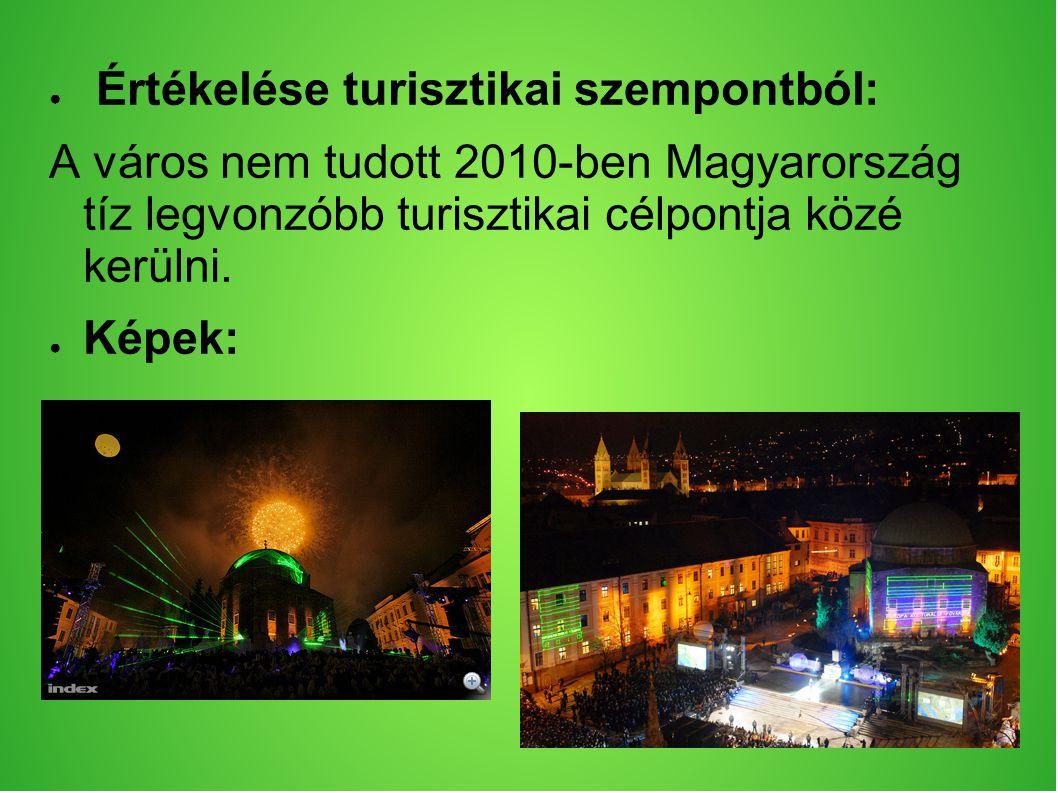 ● Értékelése turisztikai szempontból: A város nem tudott 2010-ben Magyarország tíz legvonzóbb turisztikai célpontja közé kerülni.
