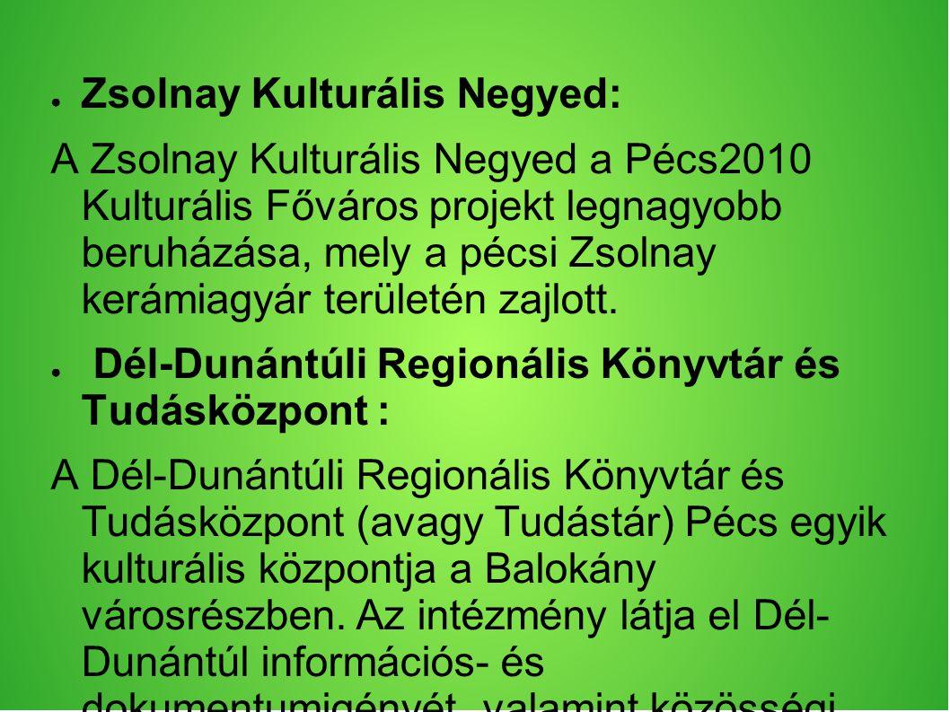 ● Zsolnay Kulturális Negyed: A Zsolnay Kulturális Negyed a Pécs2010 Kulturális Főváros projekt legnagyobb beruházása, mely a pécsi Zsolnay kerámiagyár területén zajlott.