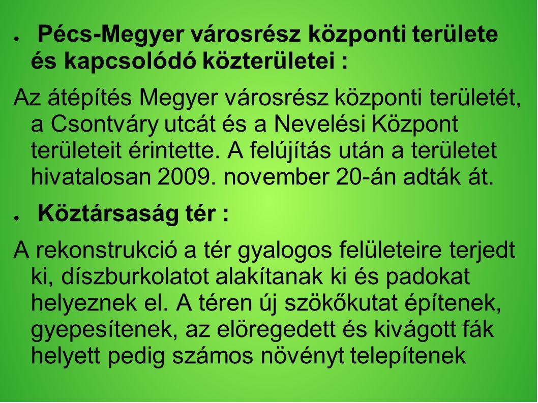 ● Pécs-Megyer városrész központi területe és kapcsolódó közterületei : Az átépítés Megyer városrész központi területét, a Csontváry utcát és a Nevelési Központ területeit érintette.
