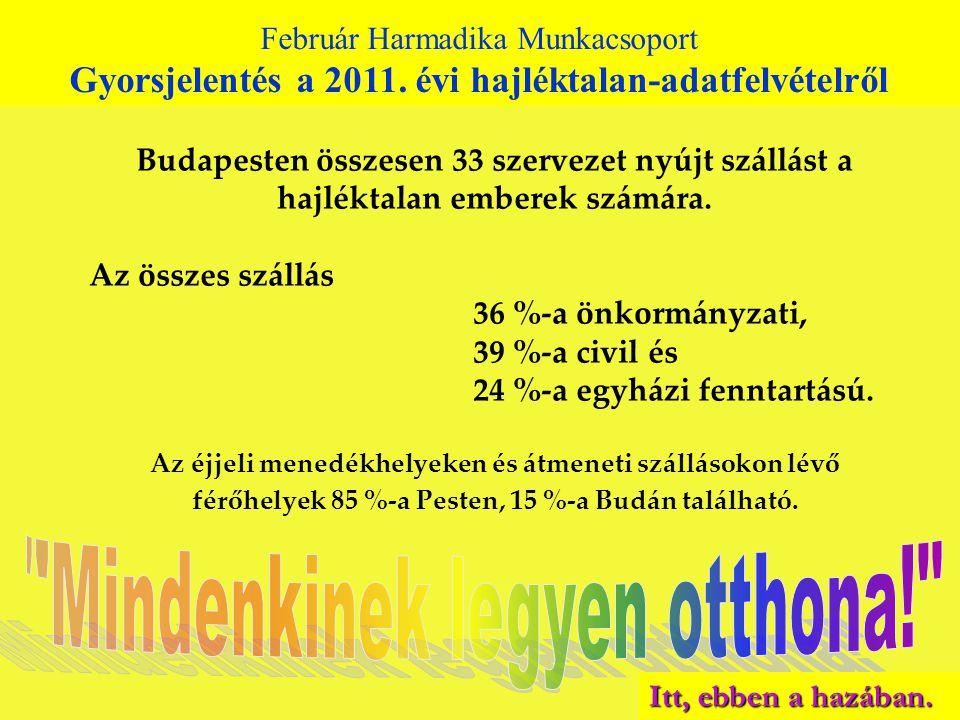 Budapesten összesen 33 szervezet nyújt szállást a hajléktalan emberek számára. Az összes szállás 36 %-a önkormányzati, 39 %-a civil és 24 %-a egyházi
