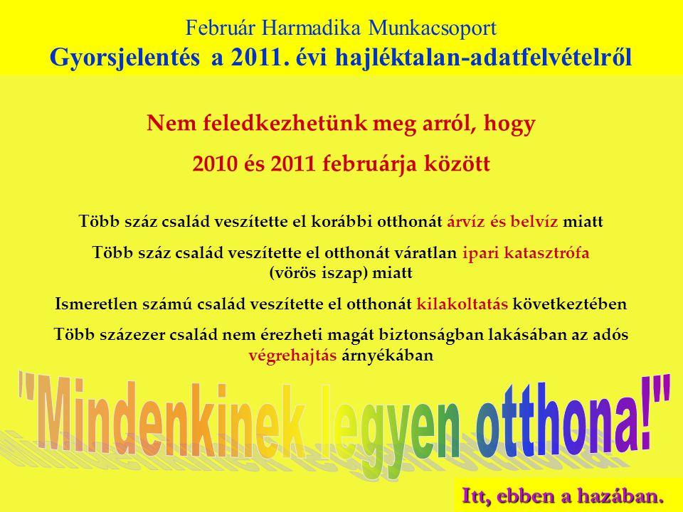 Február Harmadika Munkacsoport Gyorsjelentés a 2010. évi hajléktalan-adatfelvételről Február Harmadika Munkacsoport Gyorsjelentés a 2011. évi hajlékta