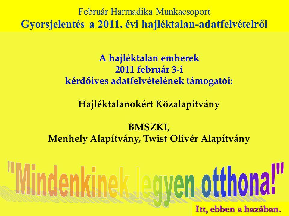 A hajléktalan emberek 2011 február 3-i kérdőíves adatfelvételének támogatói: Hajléktalanokért Közalapítvány BMSZKI, Menhely Alapítvány, Twist Olivér Alapítvány Február Harmadika Munkacsoport Gyorsjelentés a 2010.