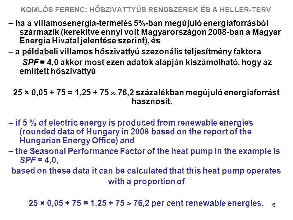 6 KOMLÓS FERENC: HŐSZIVATTYÚS RENDSZEREK ÉS A HELLER-TERV – ha a villamosenergia-termelés 5%-ban megújuló energiaforrásból származik (kerekítve ennyi volt Magyarországon 2008-ban a Magyar Energia Hivatal jelentése szerint), és – a példabeli villamos hőszivattyú szezonális teljesítmény faktora SPF = 4,0 akkor most ezen adatok alapján kiszámolható, hogy az említett hőszivattyú 25 × 0,05 + 75 = 1,25 + 75  76,2 százalékban megújuló energiaforrást hasznosít.