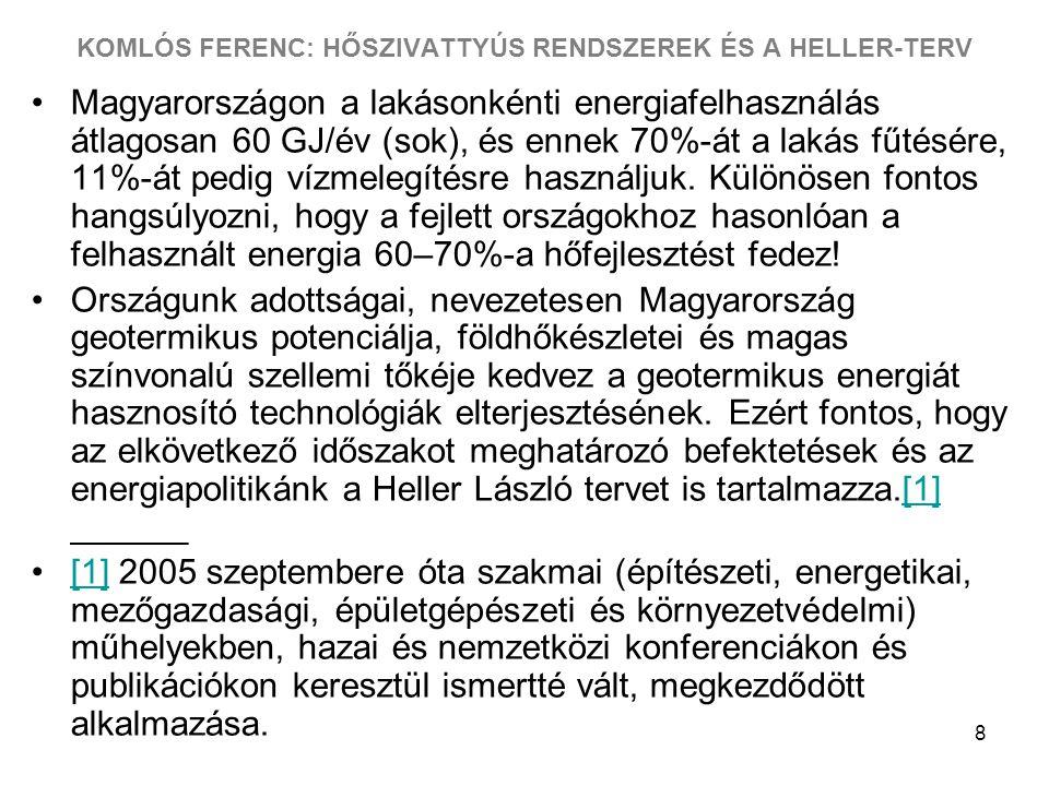 8 KOMLÓS FERENC: HŐSZIVATTYÚS RENDSZEREK ÉS A HELLER-TERV Magyarországon a lakásonkénti energiafelhasználás átlagosan 60 GJ/év (sok), és ennek 70%-át a lakás fűtésére, 11%-át pedig vízmelegítésre használjuk.