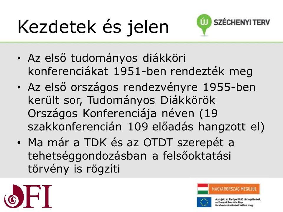 Kezdetek és jelen Az első tudományos diákköri konferenciákat 1951-ben rendezték meg Az első országos rendezvényre 1955-ben került sor, Tudományos Diákkörök Országos Konferenciája néven (19 szakkonferencián 109 előadás hangzott el) Ma már a TDK és az OTDT szerepét a tehetséggondozásban a felsőoktatási törvény is rögzíti