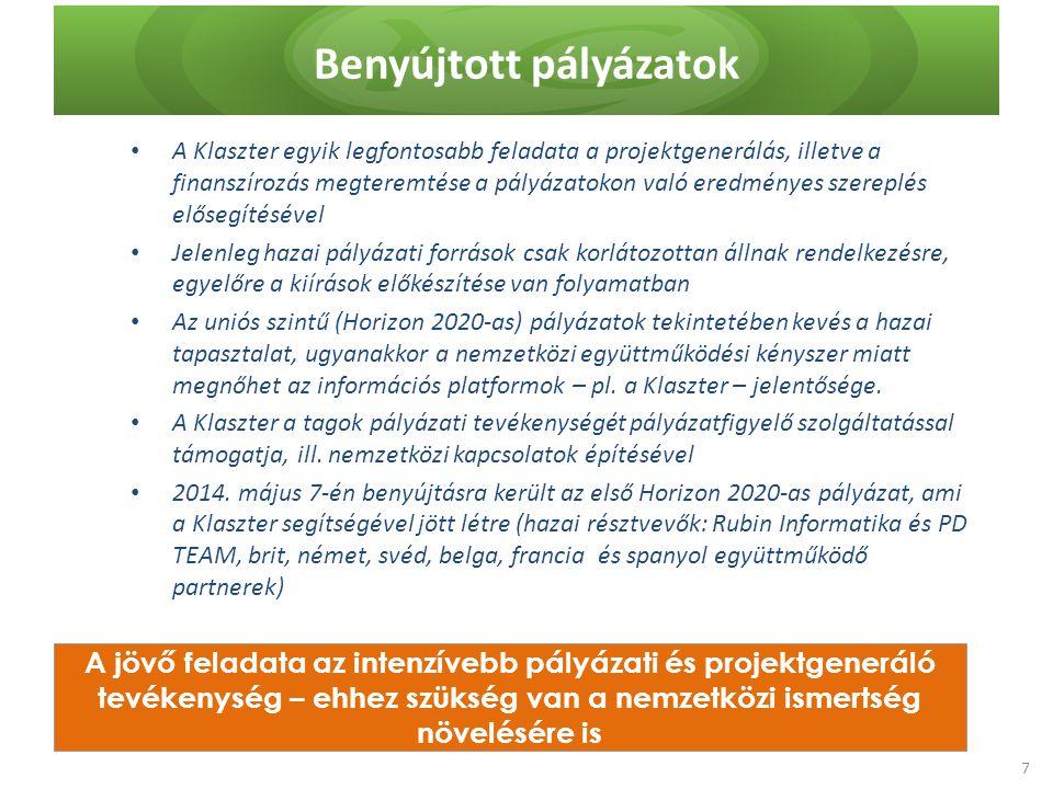 Benyújtott pályázatok A jövő feladata az intenzívebb pályázati és projektgeneráló tevékenység – ehhez szükség van a nemzetközi ismertség növelésére is A Klaszter egyik legfontosabb feladata a projektgenerálás, illetve a finanszírozás megteremtése a pályázatokon való eredményes szereplés elősegítésével Jelenleg hazai pályázati források csak korlátozottan állnak rendelkezésre, egyelőre a kiírások előkészítése van folyamatban Az uniós szintű (Horizon 2020-as) pályázatok tekintetében kevés a hazai tapasztalat, ugyanakkor a nemzetközi együttműködési kényszer miatt megnőhet az információs platformok – pl.
