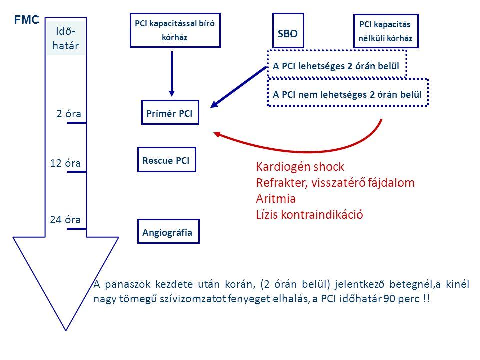 PCI kapacitással bíró kórház PCI kapacitás nélküli kórház SBO Primér PCI A PCI lehetséges 2 órán belül Idő- határ 2 óra 12 óra 24 óra FMC Rescue PCI A