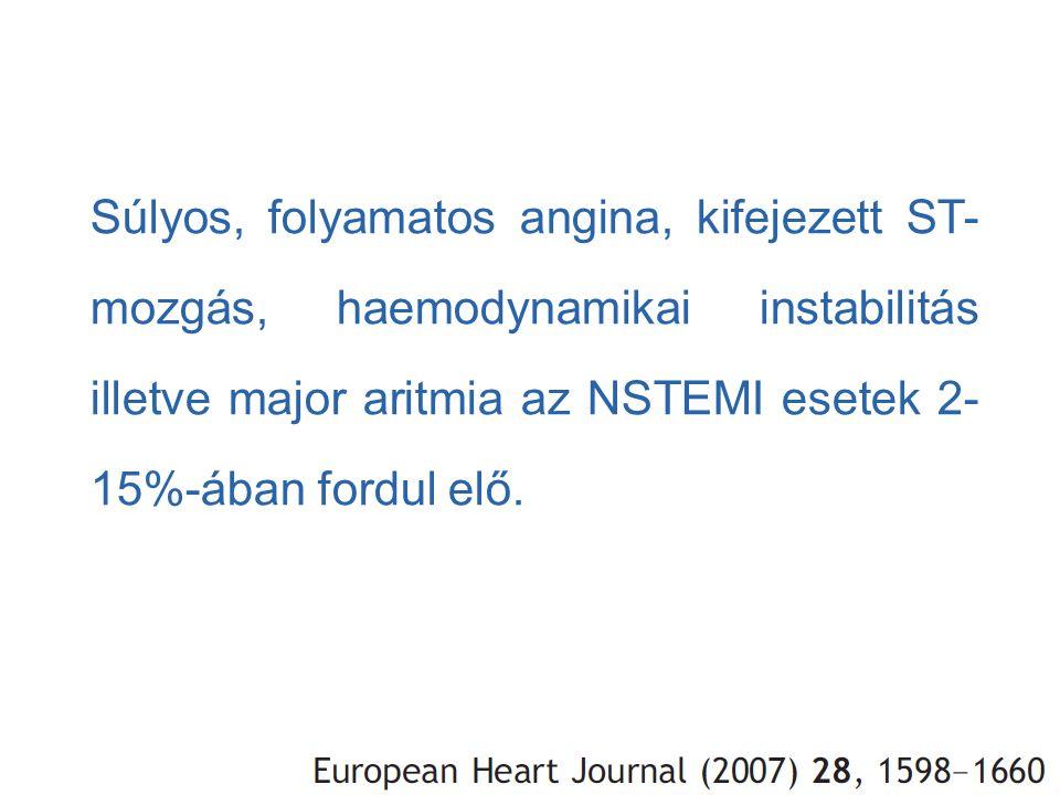 Súlyos, folyamatos angina, kifejezett ST- mozgás, haemodynamikai instabilitás illetve major aritmia az NSTEMI esetek 2- 15%-ában fordul elő.
