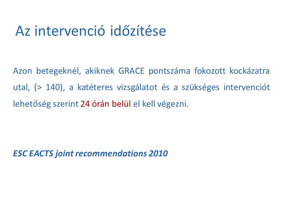 Az intervenció időzítése Azon betegeknél, akiknek GRACE pontszáma fokozott kockázatra utal, (> 140), a katéteres vizsgálatot és a szükséges intervenci