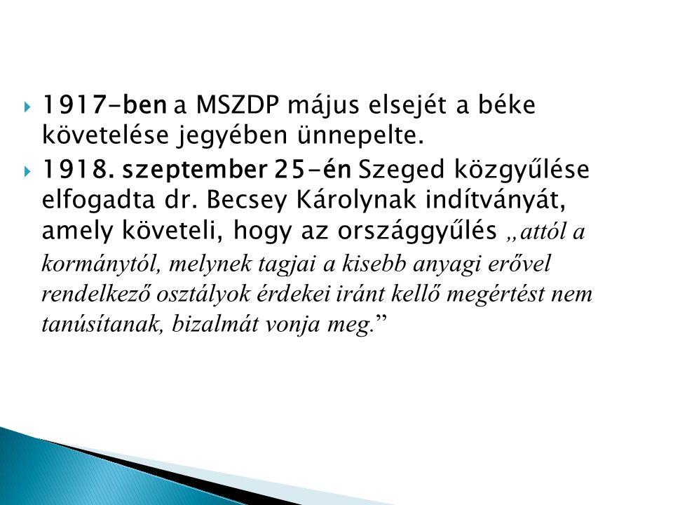  1917-ben a MSZDP május elsejét a béke követelése jegyében ünnepelte.