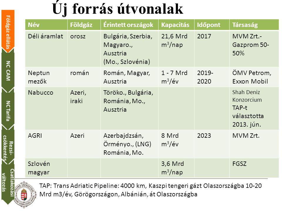 Új forrás útvonalak NévFöldgázÉrintett országokKapacitásIdőpontTársaság Déli áramlatoroszBulgária, Szerbia, Magyaro., Ausztria (Mo., Szlovénia) 21,6 Mrd m 3 /nap 2017MVM Zrt.- Gazprom 50- 50% Neptun mezők románRomán, Magyar, Ausztria 1 - 7 Mrd m 3 /év 2019- 2020 ÖMV Petrom, Exxon Mobil NabuccoAzeri, iraki Töröko., Bulgária, Románia, Mo., Ausztria Shah Deniz Konzorcium TAP-t választotta 2013.