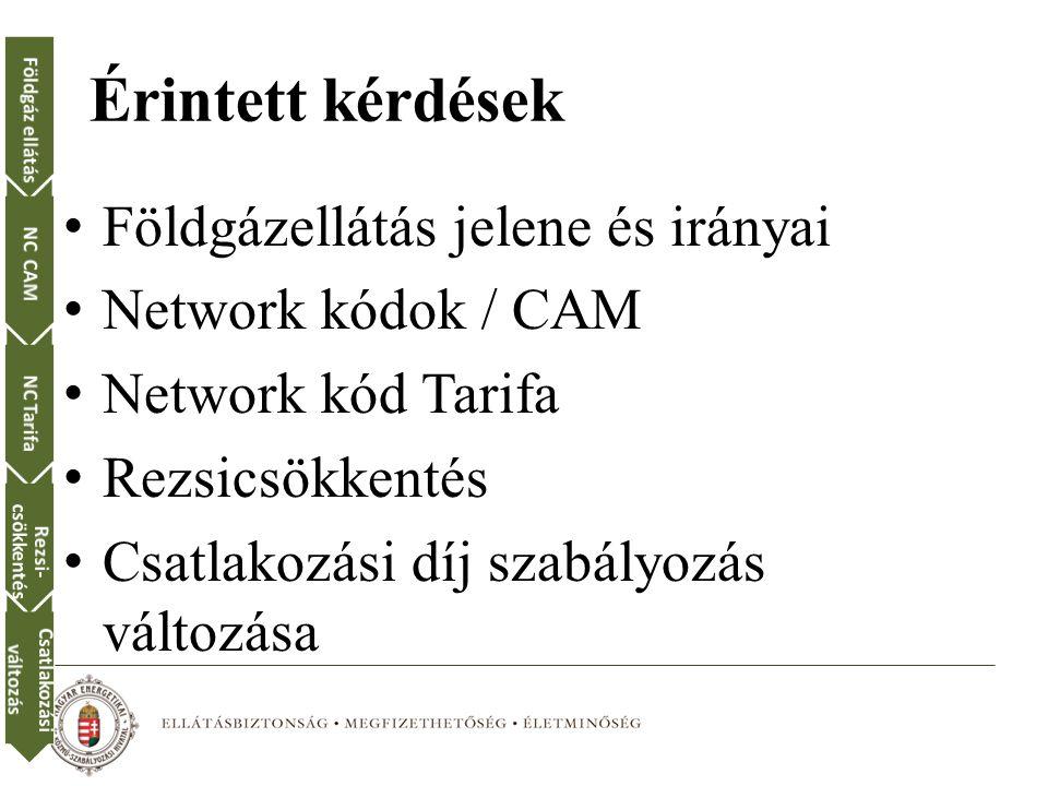 Érintett kérdések Földgázellátás jelene és irányai Network kódok / CAM Network kód Tarifa Rezsicsökkentés Csatlakozási díj szabályozás változása Földgáz ellátásNC CAMNC Tarifa Rezsi- csökkentés Csatlakozási változás