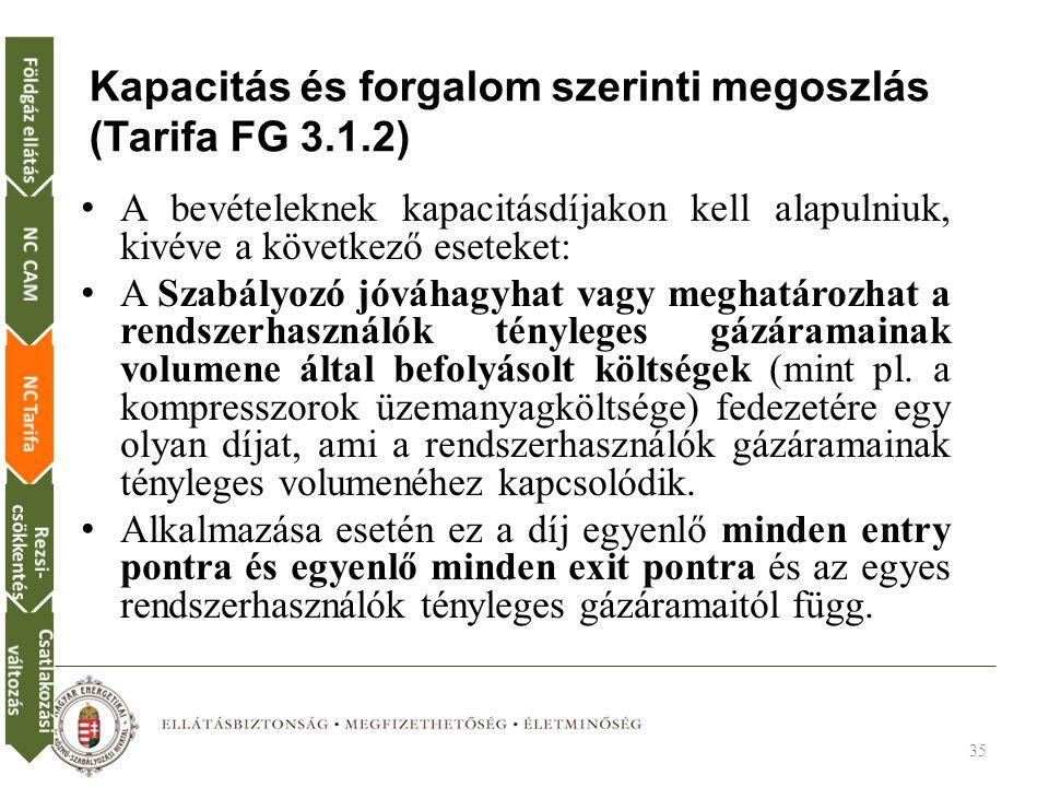 Kapacitás és forgalom szerinti megoszlás (Tarifa FG 3.1.2) A bevételeknek kapacitásdíjakon kell alapulniuk, kivéve a következő eseteket: A Szabályozó jóváhagyhat vagy meghatározhat a rendszerhasználók tényleges gázáramainak volumene által befolyásolt költségek (mint pl.