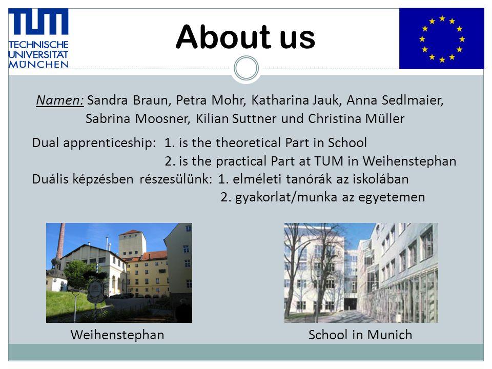 About us Namen: Sandra Braun, Petra Mohr, Katharina Jauk, Anna Sedlmaier, Sabrina Moosner, Kilian Suttner und Christina Müller Dual apprenticeship: 1.