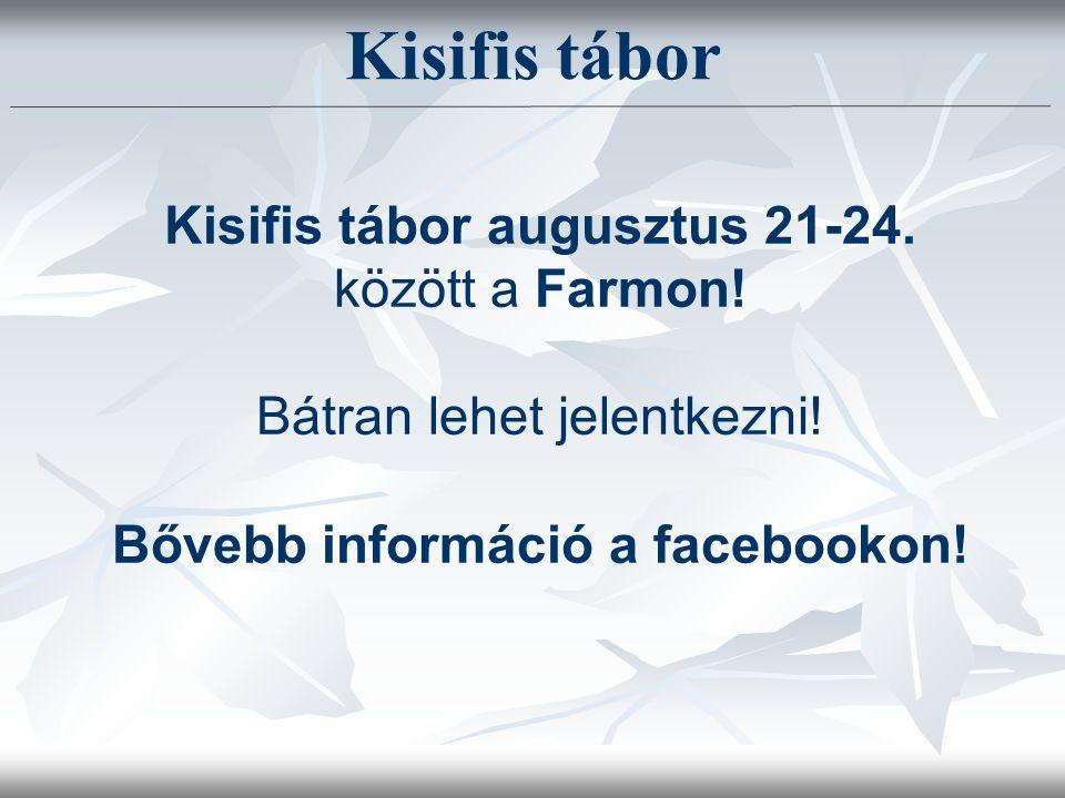 Kisifis tábor augusztus 21-24. között a Farmon. Bátran lehet jelentkezni.