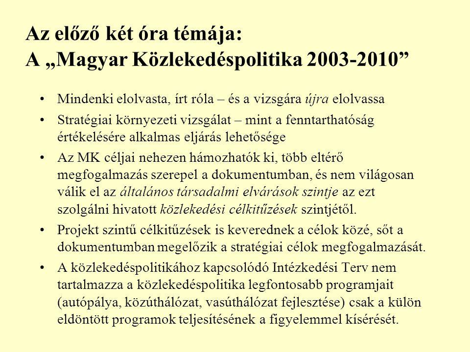 """Az előző két óra témája: A """"Magyar Közlekedéspolitika 2003-2010 Mindenki elolvasta, írt róla – és a vizsgára újra elolvassa Stratégiai környezeti vizsgálat – mint a fenntarthatóság értékelésére alkalmas eljárás lehetősége Az MK céljai nehezen hámozhatók ki, több eltérő megfogalmazás szerepel a dokumentumban, és nem világosan válik el az általános társadalmi elvárások szintje az ezt szolgálni hivatott közlekedési célkitűzések szintjétől."""
