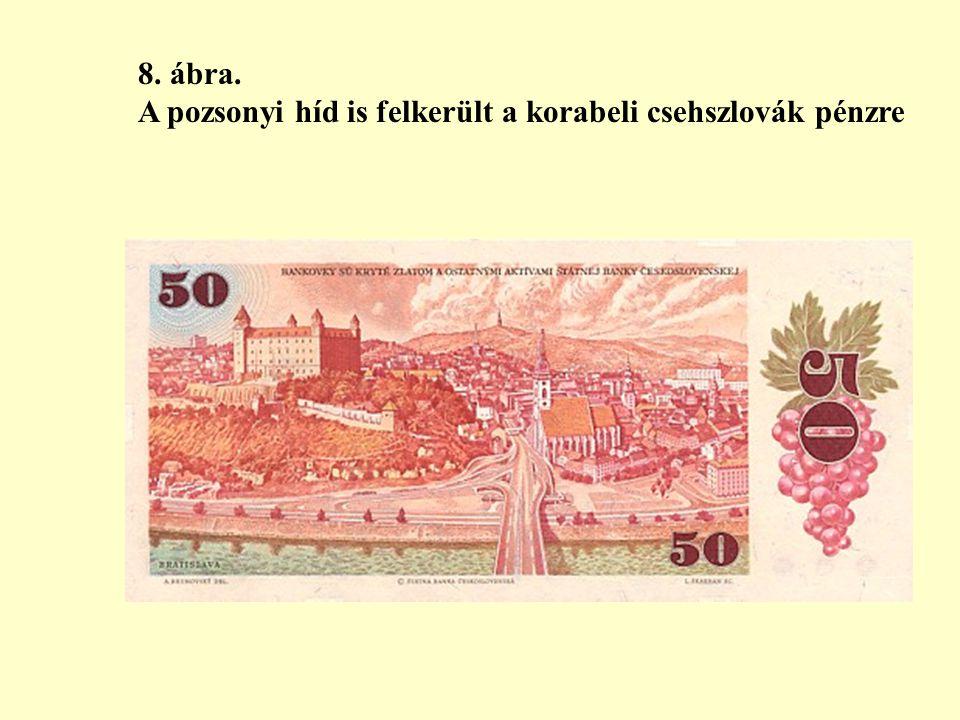 8. ábra. A pozsonyi híd is felkerült a korabeli csehszlovák pénzre