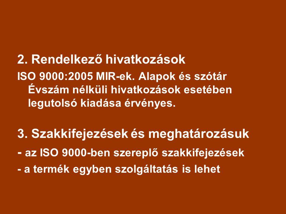 2.Rendelkező hivatkozások ISO 9000:2005 MIR-ek.