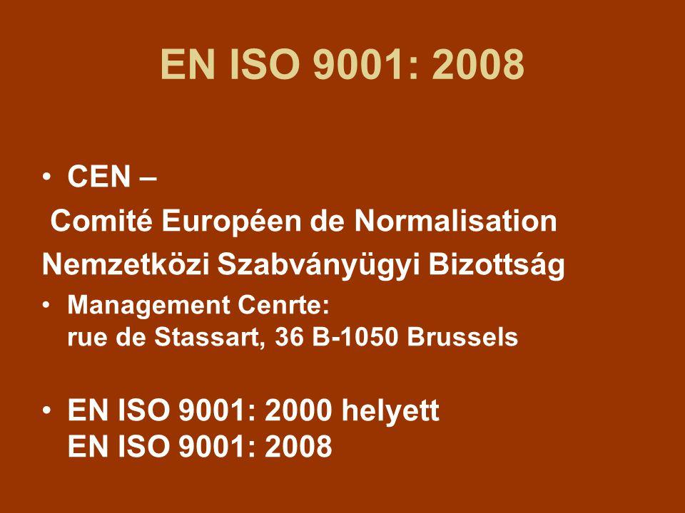 EN ISO 9001: 2008 CEN – Comité Européen de Normalisation Nemzetközi Szabványügyi Bizottság Management Cenrte: rue de Stassart, 36 B-1050 Brussels EN ISO 9001: 2000 helyett EN ISO 9001: 2008