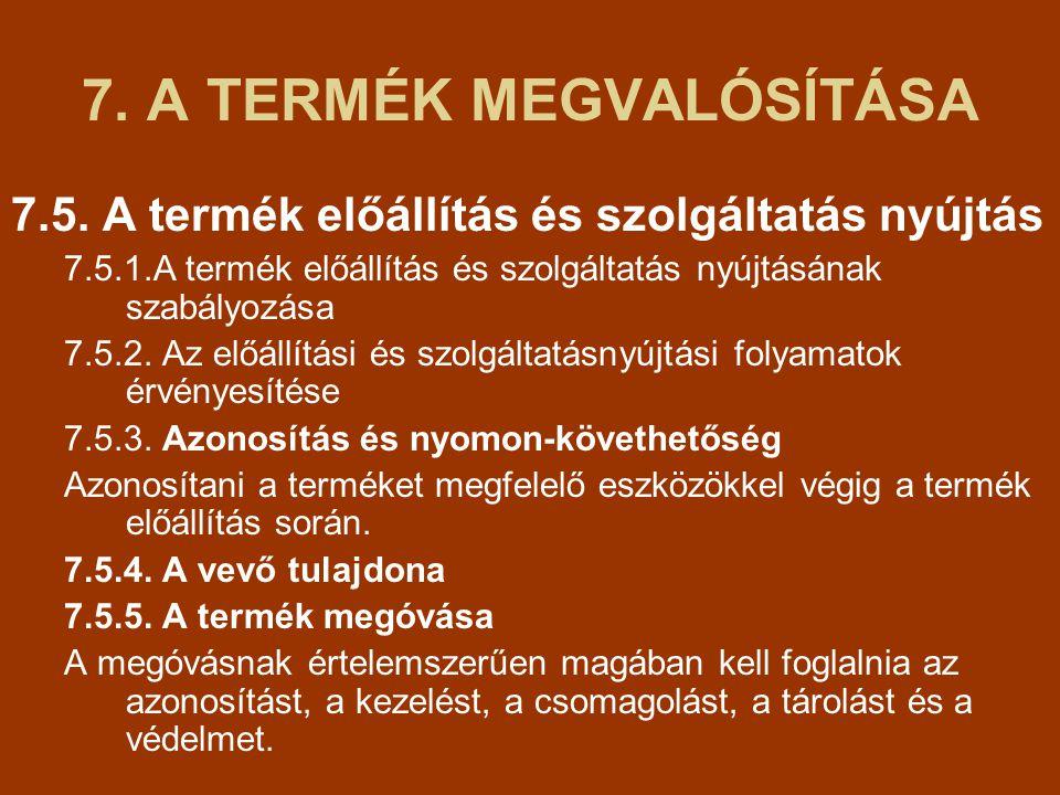 7.A TERMÉK MEGVALÓSÍTÁSA 7.5.